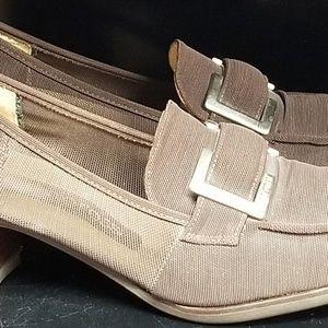 Sergio Rossi Italy Brown Fabric Slip On Heels sz 8